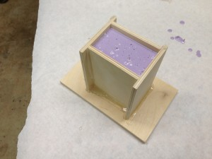 Purple silicon mold of hand